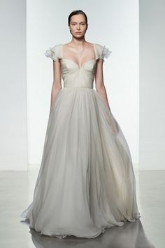 """""""Georgia"""" Amsale Spring 2016 - Silk chiffon ball gown with ruched bodice and flutter sleeve."""