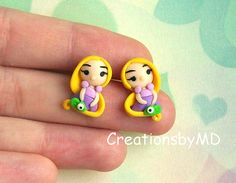 rapunzel stud earrings polymer clay fimo handmade by CreationsbyMD