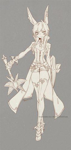:DragonNest:Yoka female-lineart by ZiyoLing.deviantart.com on @DeviantArt