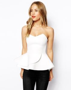 ASOS Bandeau Top with Double Ruffle in Scuba