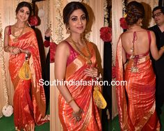 Shilpa Shetty's Diwali Look – South India Fashion Indian Bridal Outfits, Indian Dresses, Shilpa Shetty Saree, Sonakshi Sinha, Diwali Outfits, Saree Dress, Saree Blouse, Sari Blouse Designs, Stylish Sarees
