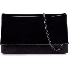 Karen Millen Patent And Suede Brompton Clutch Bag (785 ARS) ❤ liked on Polyvore featuring bags, handbags, clutches, one colour, patent leather handbags, karen millen, chain strap purse, karen millen handbags and chain strap handbag