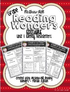 McGraw-Hill Wonders EDITABLE First Grade Weekly Newsletter PACK by Beth Corder on TpT
