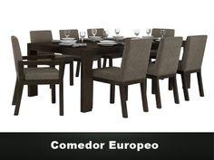 Comedir Diseño europeo de 8 sillas. Mesa de MDF y sillas tapizadas en diferentes telas.