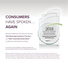 Berkshire Hathaway HomeServices Named Real Estate Agency Brand of the Year in 2018 Harris Poll EquiTrend Study