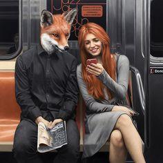 Hyperrealistic Paintings Reveal the Animalistic Inner Selves of NYC Subway Riders - My Modern Met