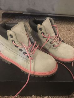 fd2cc920f983 Kids Pink and Grey Timberland Boots Used Size 11