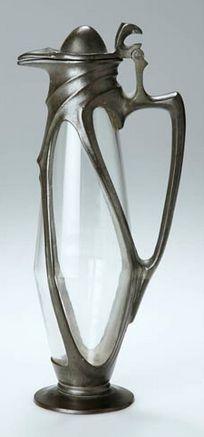 Friedrich Adler, Art Nouveau wine carafe, glass and pewter, metal by Jacob Reinemann & Lichtinger, Munich, 23 cm. H.