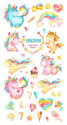 Unicorns. Watercolor clip art, rainbow, hearts, flowers, stars, candy, horses, characters, greeting,