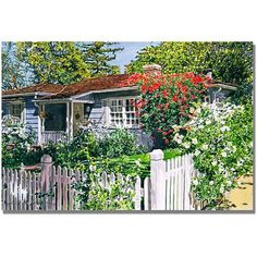Trademark Art Rose Cottage Canvas Wall Art by David Lloyd Glover, Size: 18 x 24, Multicolor