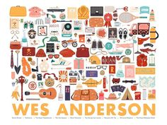 Wes Anderson set by Maria Suarez Inclan My piece is inspired by the objects and costumes used in Wes Anderson movies, from the beautiful luggage in Darjeeling Limited (I wish I had some) to the packaging of the juices and cider in Fantastic Mr Fox and the Mendl's boxes in Grand Budapest Hotel. Some people say his compositions work well because of their symmetry but it's so much more than that - it's how the characters interact with each carefully chosen object