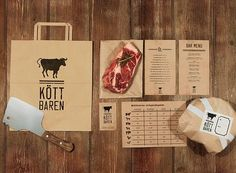for restaurant Köttbaren in Stockholm. Design by Lobby Design. Who's having meat for lunch PD Meat Restaurant, Restaurant Branding, Restaurant Design, Restaurant Ideas, Food Graphic Design, Food Design, Cafe Pan, Carnicerias Ideas, Meat Box