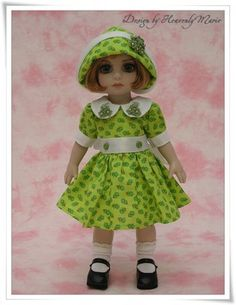 Tonner Patsy Ann Estelle Doll OOAK Green Flower One Piece Dress by HeavenlyMarie