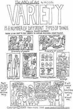 principles of art - variety by akasunkist Elements And Principles, Elements Of Art, High School Art, Middle School Art, Art Handouts, Art Basics, Art Worksheets, Art Curriculum, Art Lesson Plans