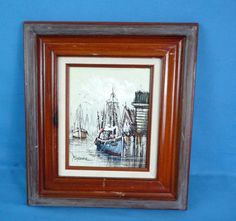 Original Oil Painting on Canvas Sailboats In Harbor Detailed Signed By Florence