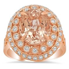 Bezel and Pave Morganite Halo Engagement Ring with Milgrain Morganite Engagement, Halo Engagement, Rose Gold Morganite Ring, Pink Gemstones, Diamond, Products, Diamonds, Beauty Products