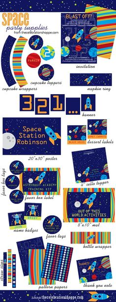 Space Party Supplies {out of this world ideas} | TheCelebrationShoppe.com #astronaut #spaceship #party