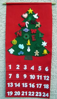 Felt Advent Calendar -- includes good instructions for making the tree shape