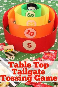 Add some serious fun to your next homegate or tailgate by challenging your guests to a round of our homemade table top tailgate / homegate tossing game. #CallAnEatible #SkittlesHomegating #ad @Skittles