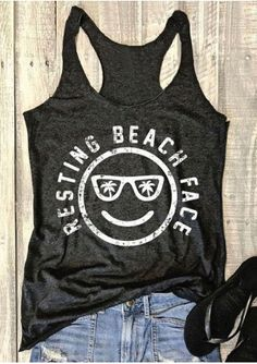 Cheap casual tanks, Buy Quality top crop directly from China casual tank top Suppliers: Women Casual Tank Tops Plus Size Resting Beach Face Print Sleeveless Oversize O Neck Tops Cropped 2017 Crop Top Tee Vacation Shirts, Beach Shirts, Summer Shirts, Cute Shirts, Funny Vacation, Vacation Quotes, Beach Tanks, Vacation Wear, Vacation Outfits