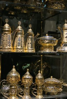 Coffee pots for sale at Souq al-Hamidiyya, Old City's main covered market, Damascus, Syria