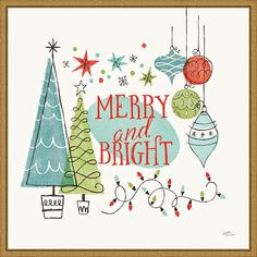 """This Amanti Art Merry and Bright Christmas Tree Square Framed Canvas Wall Art celebrates Christmas with retro style. This Amanti Art Merry and Bright Christmas Tree Square Framed Canvas Wall Art celebrates Christmas with retro style. Indeed, """"Merry and Bright"""" is lettered in the center, backed by a soft turquoise oval Stylized drawings of ornaments, Christmas lights and ornaments in black are color blocked over a light brown background This illustration is jazzy with a mid-century vibe Canvas is Modern Christmas, Retro Christmas, Christmas Images, Christmas Lights, Christmas Tree, Christmas Design, Christmas Ideas, Canvas Frame, Canvas Wall Art"""