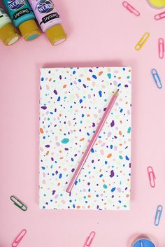 Learn how to make terrazzo style notebooks with Americana Acrylics #decoartprojects