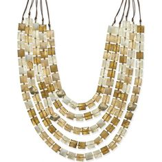 Gold-Tone Cubic Beaded Five Layer Necklace ($30) ❤ liked on Polyvore featuring jewelry, necklaces, no color, multi layered necklace, double layer necklace, layered bead necklace, goldtone jewelry and mixed metal jewelry