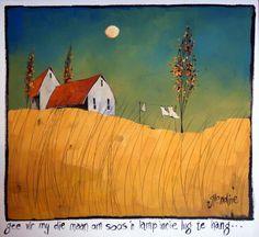 Glendine, Maan Lamp, Acrylic, 750 x unframed 980 Landscape Art, Landscape Paintings, Landscapes, Acrylic Paintings, South African Artists, Encaustic Art, Autumn Art, Artist Gallery, Art Pictures