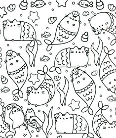 Pusheen Coloring Pages | Cartoon Coloring Pages | Colores, Mandalas ...