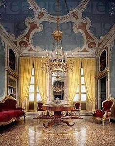Italian salon with Victorian era furnishings and exquisite terrazzo floors.