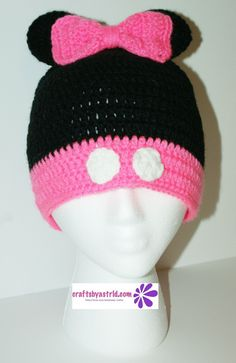 """8"""" x 18"""" Minnie Mouse Crocheted Hat. 2 Years - 4 Years. ***This crochet hat can be made in any size."""