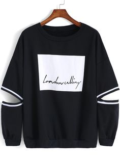 To find out about the Black Round Neck Hollow Letters Print Sweatshirt at SHEIN, part of our latest Sweatshirts ready to shop online today! Sweatshirt Outfit, Sweater Shirt, Stylish Outfits, Cool Outfits, Fashion Outfits, Womens Fashion, Hoodie Sweatshirts, Hoodies, Cute Sweaters