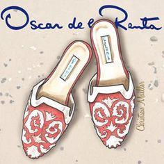 Oscar de la Renta embroidered raffia Spanish mules