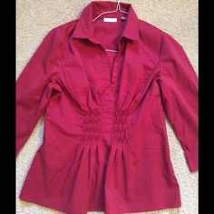 SPRING SALE  NY&Co Red Blouse This isn't photography well, but it's a deep dark red. It's a pull over blouse with a hidden side zipper. Has great flattering detail in the front. I may have worn this once but it's in fantastic condition. New York & Company Tops Blouses