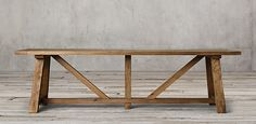 Reclaimed Russian Oak Trestle Rectangular Table | RH Reclaimed oak natural, brown or black. Natural starts at $2095