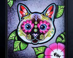 Day of the Dead Siamese Kitty Cat Sugar Skull Art Print - 8 x 10 - Prints for Pits Rescue Donation Sugar Skull Painting, Sugar Skull Artwork, Sugar Skull Cat, Sugar Skulls, Tissue Paper Decorations, Day Of The Dead Art, Folk Embroidery, Cat Tattoo, Retro Art