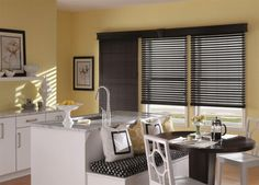 Dark Chocolate Faux Wood Blinds #BudgetBlinds #GrassValley #home #windows #blinds