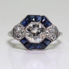 Antique Art Deco 925 Sterling Silver Blue Sapphire   Diamond Ring 8a2b5a1611cb