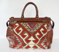 kilim bag Love texture and leather