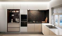 Klik for fuldskærmsvisning Minimalist Home, Kitchen Cabinets, Interior Design, Closet, Furniture, Home Decor, Kitchen Inspiration, Messing, House