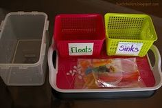Sun Scholars: Preschool Activity Trays -- Float or Sink Science Tray: classification, hypothesizing, experimenting, analyzing. Preschool Kindergarten, Preschool Learning, Teaching Science, Science For Kids, Learning Centers, Science Activities, Teaching Tools, Early Learning, Preschool Activities