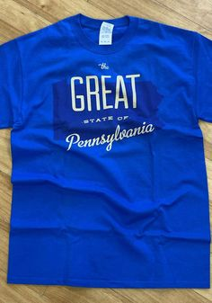 Pennsylvania Blue The Great State Of Short Sleeve T Shirt - 8090271 Temporary Store, Keystone State, Short Sleeve Tee, Pennsylvania, Pittsburgh, Organization, Tees, Sleeves, Mens Tops
