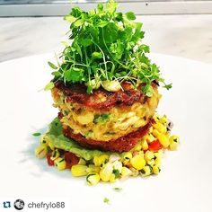 TAG YOUR BEST FRIENDS!!!!!!!#Repost @chefrylo88  Alaskan king crab cake pickled and fried green tomato avocado mousse and a roasted corn salsa ( photo taken by our guest in the kitchen for the evening @honestlynaked ) #king #crab #crabcake #salsa #avocado #thestaffcanteen #michelin #truecooks #expertfoods  #beautifulcuisines #theartofplating #wildchefs #nyc #chef #cheflife #chefsroll #dontshootthechef #chefstalk #ChefsOfInstagram #food #foodie #foodgasm #foodporn #instachef #foodstarz…