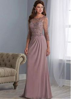 Wedding Dresses Ball Gown, Shimmering tulle & Chiffon Bateau Neckline Full Length Sheath/Column Mother Of The Bride Dresses With Beadings DressilyMe Formal Dresses With Sleeves, Mob Dresses, Elegant Dresses, Beautiful Dresses, Bridesmaid Dresses, Wedding Dresses, Dress Formal, Linen Dresses, Party Dresses