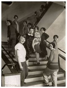 T. Lux Feininger, Female Bauhaus students on staircase, c. 1927