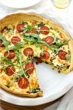 Kartoffel-Quiche mit Spinat, Ziegenkäse, Creme Fraiche, Thymian., gesund, vegetarisch, Rezept