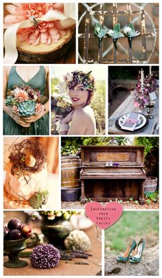 a peach, purple, and forest green wedding. Rustic beauty!!