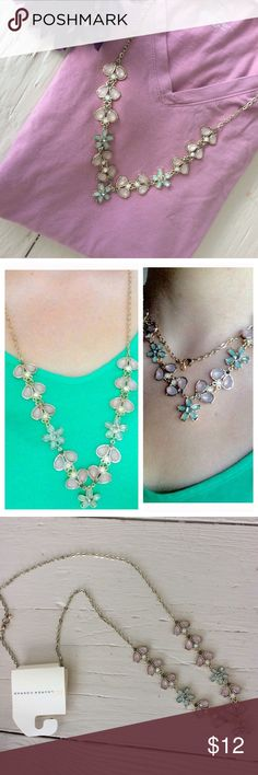 LC Floral Necklace Blush Pink and light blue long vine necklace. Adjustable chain, can be doubled up.   >Condition: New   🚫 No Trades ✅ Discounted Bundles ✅ Reasonable Offers LC Lauren Conrad Jewelry Necklaces