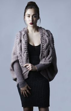 Amy Hall, Cocoon style cardigan with heavily cabled hand knitted collar and fine, ribbed silk mohair sleeves.